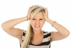 Mulher loura frustrante ou irritada fotos de stock