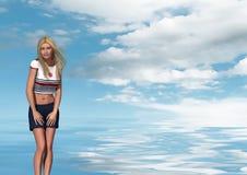 Mulher loura no desgaste naval sobre o mar Imagem de Stock Royalty Free
