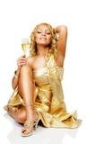 Mulher loura nova com vidro do champanhe Fotografia de Stock