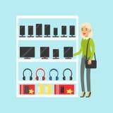 Mulher loura nova que escolhe a tabuleta digital na ilustração colorida do vetor da loja de dispositivo ilustração stock
