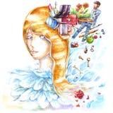 A mulher loura pensa o sonho sobre o presente fema da beleza das flores do frescor da água das ondas das penas brancas dos indiví ilustração do vetor