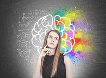 Mulher loura pensativa, cérebro foto de stock