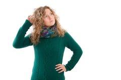 Mulher loura pensativa isolada no fundo branco Imagens de Stock