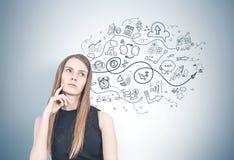 Mulher loura pensativa, plano de negócios imagem de stock royalty free