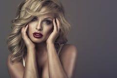 Retrato do estilo da moda da mulher delicada bonita fotografia de stock royalty free
