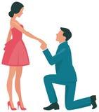 Mulher loving e homem dos pares que ajoelham-se no perfil Fotografia de Stock Royalty Free
