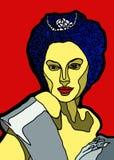 Mulher luxuosa em um vestido azul ilustração stock