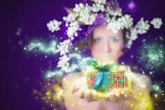 Mulher mágica do inverno da compra do Natal que guarda o presente, o penteado e a composição Fotografia de Stock