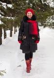 Mulher madura no parque do inverno fotos de stock