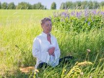 A mulher madura pratica a ioga fora imagem de stock