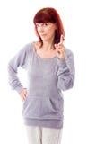 Mulher madura que aponta acima Fotografia de Stock Royalty Free