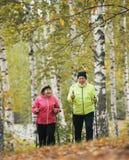 A mulher madura vestida revestimento do soprador escala um monte em um parque do outono durante uma caminhada escandinava fotos de stock royalty free
