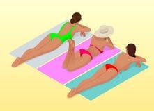 A mulher magro nova bonita toma sol na praia no sunbed perto do mar, praia, férias de verão, menina 'sexy' isométrica ilustração stock