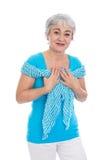 Mulher mais idosa feliz em sua prima Imagens de Stock Royalty Free