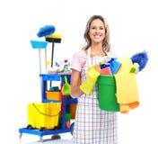 Mulher mais limpa da empregada doméstica. Imagens de Stock