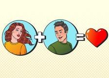 Mulher mais o amor do igual do homem Ilustração do vetor no PNF Art Style ilustração stock