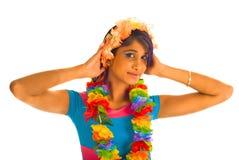 Mulher marrom nova com flores Foto de Stock