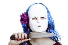 Mulher mascarada horror com faca Fotografia de Stock Royalty Free