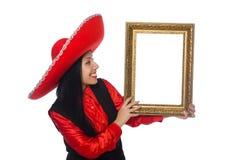 A mulher mexicana com moldura para retrato no branco Foto de Stock Royalty Free