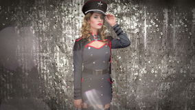 Mulher militar do dançarino do disco 'sexy' filme