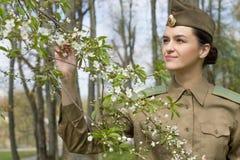 Mulher militar nova Conceito retro Fotos de Stock Royalty Free