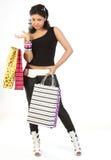 Mulher à moda com sacos de compra Imagens de Stock