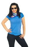 Mulher modelo bonita com óculos de sol Imagem de Stock Royalty Free