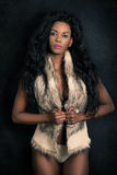 Mulher modelo preta afro-americano, fêmea nova 'sexy' Imagem de Stock Royalty Free