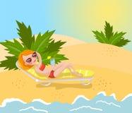 A mulher moreno bonita no biquini vermelho que encontra-se na praia tropical, férias de verão vector a ilustração ilustração stock