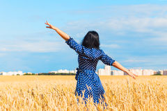 Mulher moreno bonita no campo de trigo Fotos de Stock
