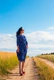Mulher moreno bonita no campo de trigo Foto de Stock Royalty Free