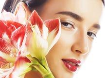 Mulher moreno bonita nova com fim vermelho da amarílis da flor acima mim imagens de stock royalty free