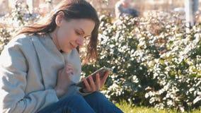 A mulher moreno bonita nova senta-se na grama no parque da mola, olha meios sociais no telefone celular filme