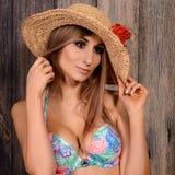 Mulher moreno nova com chapéu de palha imagem de stock