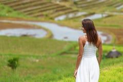 Mulher moreno nova que gerencie sua parte traseira que levanta na perspectiva dos campos do arroz Fim acima foto de stock