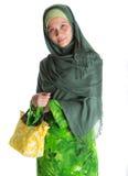 Mulher muçulmana com bolsa amarela IV Fotos de Stock