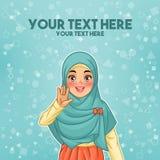 Mulher muçulmana que acena com sua palma