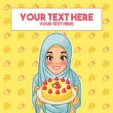Mulher muçulmana que guarda uma placa da sobremesa ilustração stock