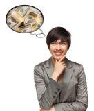 Mulher multi-étnico com bolha do pensamento do dinheiro fotografia de stock