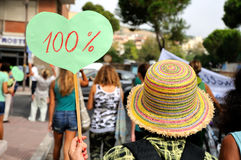 Mulher multicolorido do chapéu cem por cento Imagem de Stock