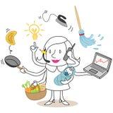 Mulher a multitarefas dos desenhos animados ilustração do vetor