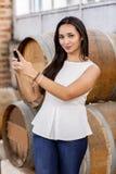 Mulher na adega de vinho Foto de Stock