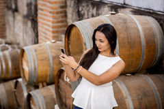Mulher na adega de vinho Fotos de Stock Royalty Free