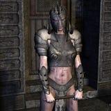 Mulher na armadura de couro com máscara Fotografia de Stock
