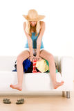 Mulher na bagagem Foto de Stock Royalty Free