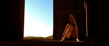 Mulher na cabine Fotografia de Stock Royalty Free