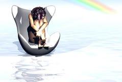 Mulher na cadeira ilustração do vetor