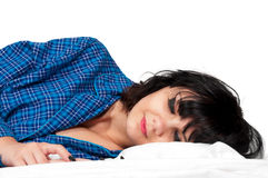 Mulher na cama Foto de Stock Royalty Free