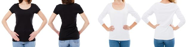 A mulher na camisa branca e preta de T isolou as opções do t-shirt da placa da imagem de Front And Rear Views Cropped, menina no  fotografia de stock