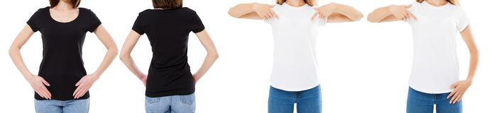 A mulher na camisa branca e preta de T isolou as opções do t-shirt da placa da imagem de Front And Rear Views Cropped, menina no  foto de stock royalty free